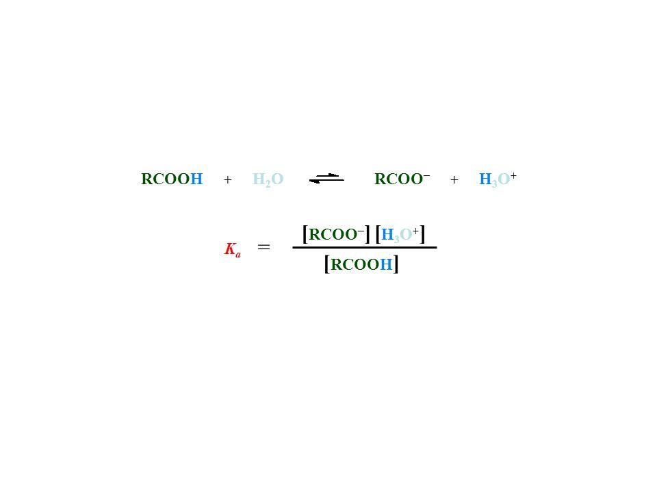 RCOOH + H2O RCOO– + H3O+ [RCOO–] [H3O+] Ka = [RCOOH]